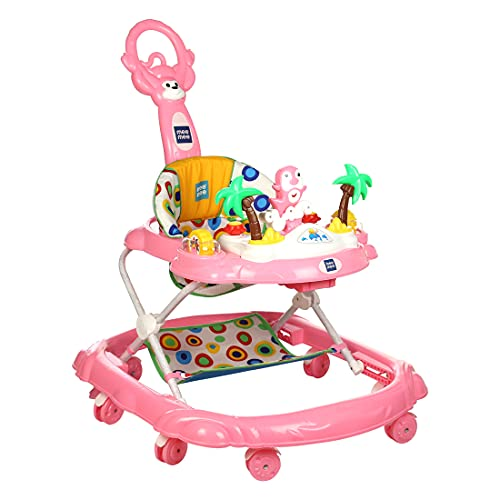 Mee Mee Simple Step Baby Walker with Push Handle, Foot Mat & Stopper (Pink)