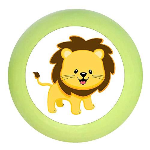 """Türknopf\""""Löwe\"""" lindgrün grün Holz Buche Kinder Kinderzimmer 1 Stück wilde Tiere Zootiere Dschungeltiere Traum Kind"""