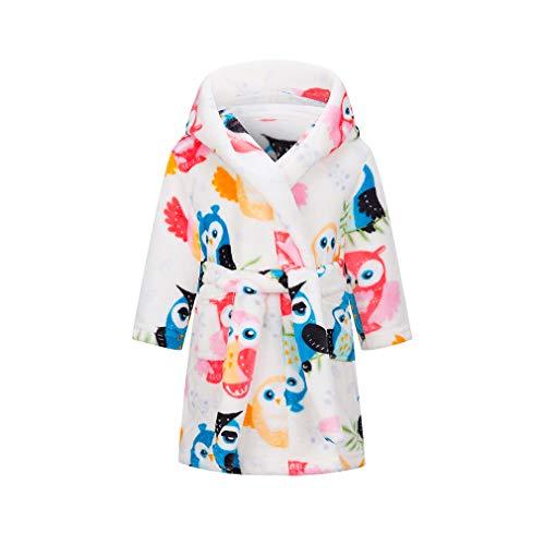 XINNE niñas Franela Batas niños Traje Coral Terciopelo Pijamas bebé Albornoces Blanco