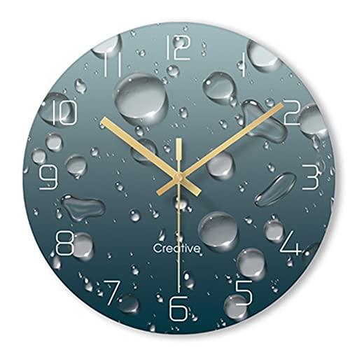 ZRL Wall Clock Reloj de Pared de 12 Pulgadas Cuarto de Estar Moderno Classic Ultra-Delgada Ronda Mute, Cuarzo Movimiento analógico Funcionado, Transparente 3D Vidrio Templado Decorativo (Color : E)