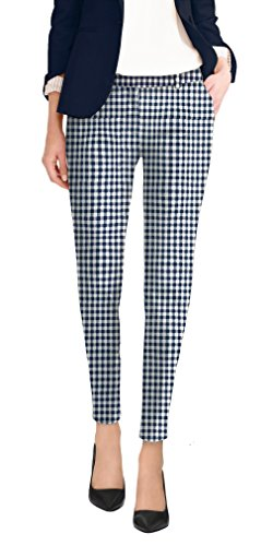 Hybrid & Company Super Comfy Flat Front Stretch Trousers PantsPW31202TX Navy/White 24
