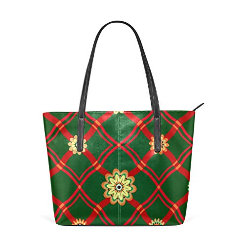 COOSUN Geometrical Ornament and Flowers Pattern PU Leather Shoulder Bag Purse and Handbags Tote Bag for Women