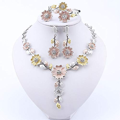 NOLOGO Gxbld-yy Dubai-Schmuck-Set for Frauen Brautkleid Zubehör Goldfarben-Blume geformt Halskette Ohrringe Armband Ring Set (Farbe : Silber, Größe : Resizable)