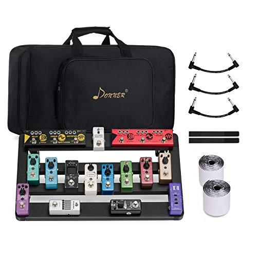Donner Gitarre Pedal Board Case DB-5 Aluminium Pedalboard mit Tasche, Gitarren Effektboard mit Faltbare Stützfüße und Design der Beweglichen Mittelstange, 505 * 290 * 105mm