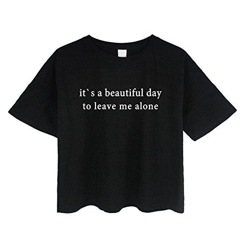 BLACKMYTH Women's Loose T Shirt Short Sleeve Graphic Crop Top Tees Black Small
