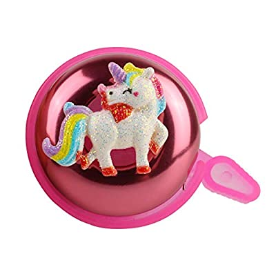 KSdeal Bike Bell for Kids Girls Toddlers,Pink Unicorn Aluminum Bicycle Bell,Children's Bike Accessory,Loud Crisp Clear Sound Bike Bell(Right Hand)