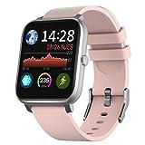IDEALROYAL Smartwatch, Reloj Inteligente Impermeable con Monitor de Frecuencia Cardíaca, Monitor de Sueño, Podómetro de Seguimiento de Actividad Física con Pantalla Táctil para Android iOS (Rosa)