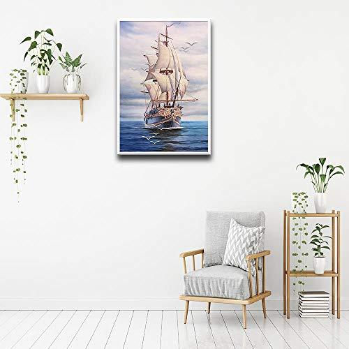 YIYEBAOFU DIY Dipingere con i Numeri Poster e Stampe di Barche a Vela murali su Tela Dipinti murali Soggiorno Decorazione della casa 40x50cm(Nessuna Cornice)