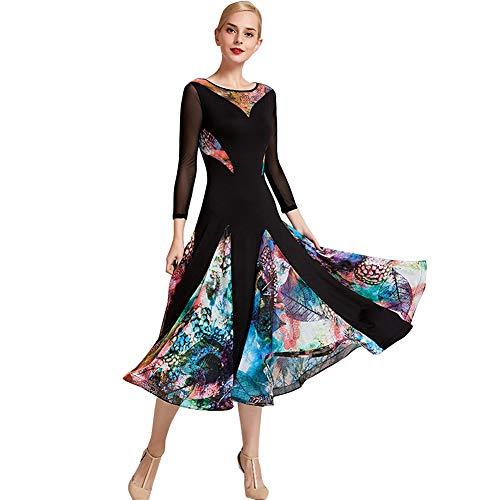 YUMEIREN Vestidos de baile de baile floral para mujer moderno baile flamenco vals vestido estándar de práctica, Mujer, color negro, tamaño xx-large