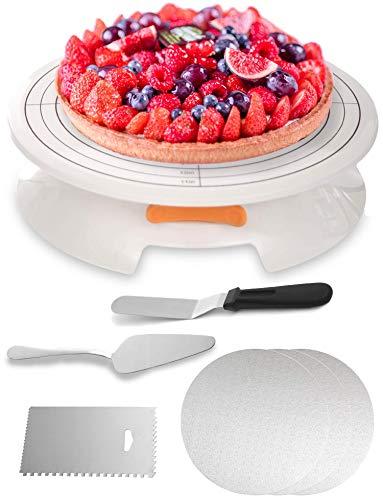 Base Girevole per Torte - con Accessori - Set di 5 Pezzi - Piatto Rotante per Pasticceria - per Decorare e Glassare
