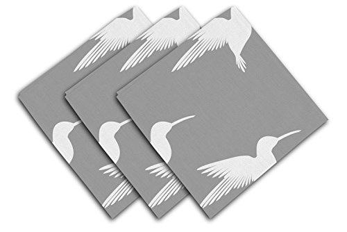 Soleil d'ocre Lot de 3 Serviettes 40x40 cm Colibri Gris, Polyester