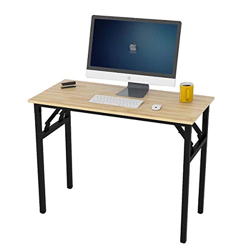 Recmaikon Folding Computer Desk Table Easy to Assemble Small Desk for Small Spaces Foldable Office Desk for Home Working 100cm*48cm*74cm(Black&Oak)