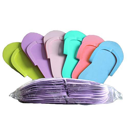 EXCEART 36 Pares de Chanclas Desechables de Espuma de Pedicura para Spa de Uñas de Salón (Color Aleatorio)