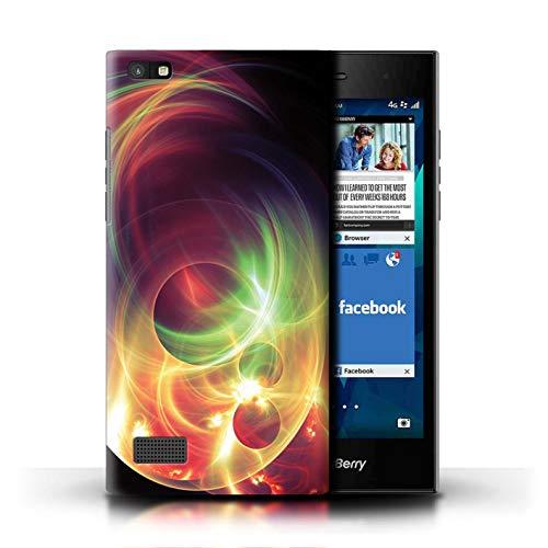 eSwish Hülle/Case für BlackBerry Leap/Fraktales Lichtplasma Muster/Neon Farben Kollektion