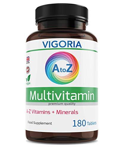 Complejo multivitamínico con minerales y hierro - Fortalece el sistema inmunológico el corazón y el cerebro - Alivia el cansancio y la fatiga - aumenta el bienestar y la energía (180 veg comprimidos)