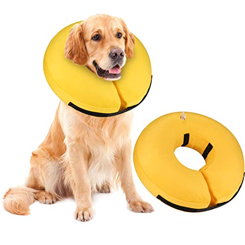 MUKSIRON Protective Inflatable Collar for Dogs Soft Pet Recovery Collar,Pet Donut Collar After Surgery for Prevent from Biting & Scratching (Large, Yellow)