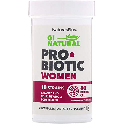 NaturesPlus GI Natural Probiotic Capsules, Women - 30 Capsules - 18 Live Probiotic Strains & Prebiotics - Digestive & Immune Support - Cranberry For Urinary Tract Health - Gluten-Free - 30 Servings