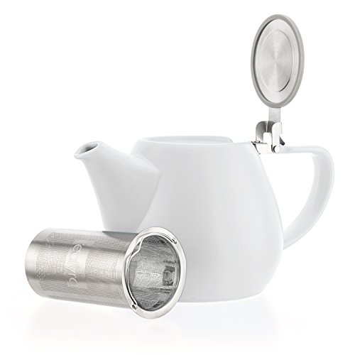 Tealyra - Jove Porcelain Large Teapot White - 34.0-ounce (3-4 cups) - Japanese Made - Stainless Steel Lid and Extra-Fine Infuser To Brew Loose Leaf Tea - 1000ml