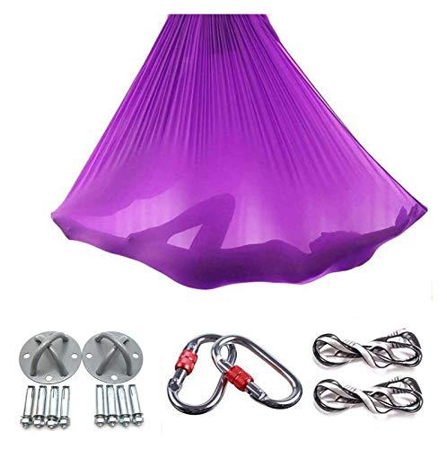 Aerial Yoga Swing púrpura Herramienta Honda Antigravity Hamaca Tela Trapecio for la inversión los Ejercicios de Seda de Primera Calidad Mejorada Fuerza Flexibilidad Core lucar