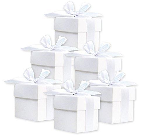 50 Stück Süße Geschenkboxen (weiß) Gastgeschenk für Hochzeit Babyparty Taufe Geburt
