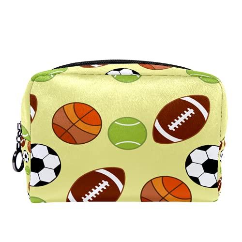 Neceser de Maquillaje para Mujer Bolso Organizador de Kit de Viaje cosmético,Pelota Deporte Baloncesto Fútbol Béisbol