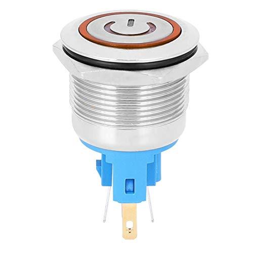 Interruptor de botón de Metal con luz LED a prueba de agua de 2 uds, botón de bloqueo automático DC12-24V, interruptor de botón para ascensor(orange, Pisa Leaning Tower Type)
