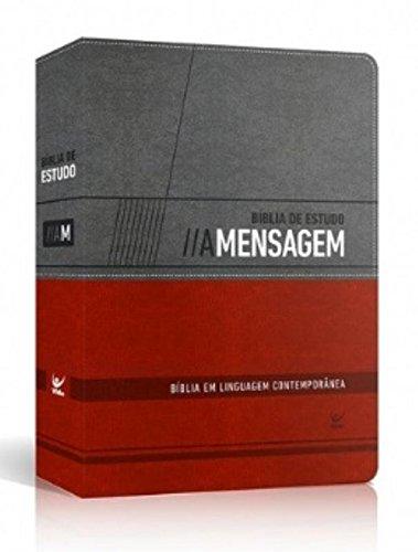 Bíblia de Estudo a Mensagem - Capa Cinza e Vermelho com Índice