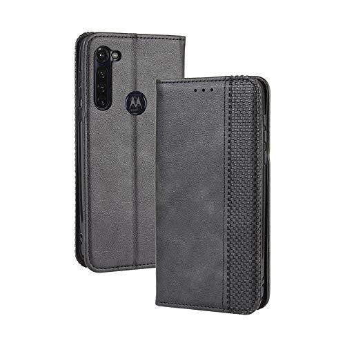 LAGUI Compatible para Funda Motorola Moto G Pro, Carcasa Tipo Libro Protector Magnético y Plegable de PU Soporte de Ranuras para Tarjetas, Negro