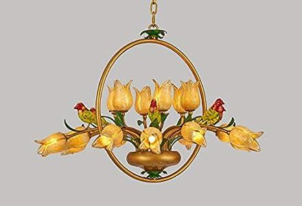 Lustre elegante de estilo floral con 18luces art décor en pájaros Metal suspensión clásica forma de flores tulipa de cristal mano de dormitorio boutique blanco cálido 88* 56cm G9* 18