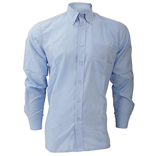 Dickies - Camisa de Manga Larga Modelo Oxford Algodón/Poliéster para Hombre Caballero - Fiesta/Trabajo/Eventos Importantes (Cuello 50cm) (Azul Claro)