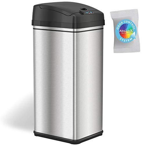 iTouchless DZT13/IT13CB Deodorizer Touch-Free Sensor 13-Gallon Automatic Stainless-Steel Trash Can