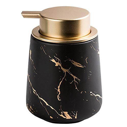 Deesen Imitieren Marmor Keramik Hand Seifen Spender, Tragbare NachfüLlbare FlüSsige Shampoo & Lotion Becher, 400 Ml, Schwarz