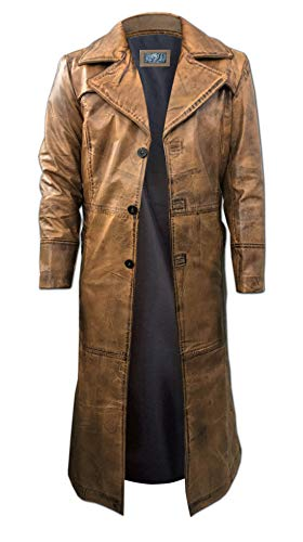 Mens Leather Trench Coat for Men Long Jacket Vintage Distressed Brown Coat (XX-Large - (for Body Chest 44-48))