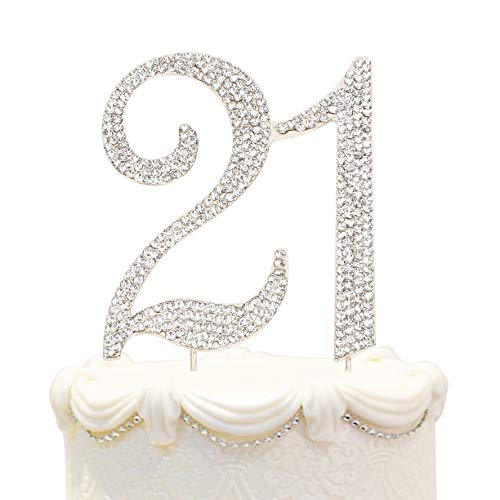 Hatcher lee Bling Crystal 21 Birthday Cake Topper - Best Keepsake | 21st Party Decorations Silver