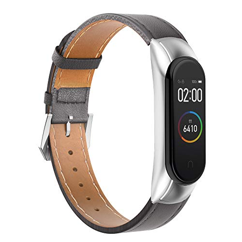 GeeRic Kompatibel Mit Xiaomi Mi Band 4 Armband,Leder Replacement Wrist Strap Band Uhrenarmband Handgelenk Band Kompatibel Für Xiaomi Mi Band 4