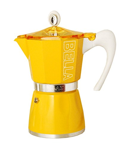 European Gift & Houseware 10-5803 3 Cup Bella Stove-Top Espresso Makers, Sunset Yellow