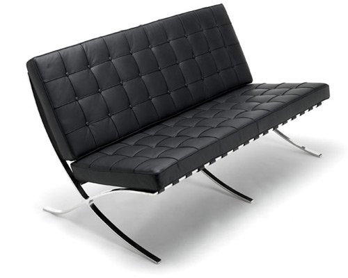 Barcelona para sofá en Full anilina piel italiana, piel sintética, Blanco, Dos asientos