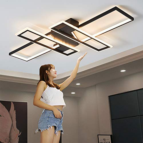 LED Deckenleuchte Wohnzimmer Licht Pendelleuchte Dimmbar 72/100W Creative Aluminium Acryl Design Lampe Decke Fixture Beleuchtung Wohnzimmerlampe Schlafzimmer Licht Büro Deckenlampe (Schwarz, 39in)