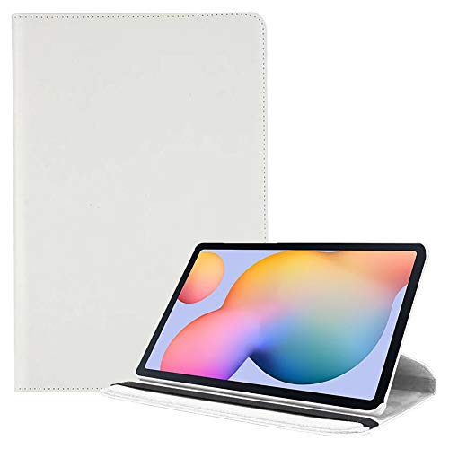 RZL PAD & TAB cases For Samsung Galaxy Tab S6 Lite 10.4, 360 Degrees Rotating Flip Stand Cover PU Shockproof Smart Tablet Case For Samsung Galaxy Tab S6 Lite 10.4 2020 P610/P615 (Color : White)