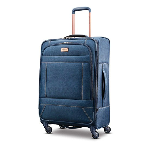 American Tourister Belle Voyage Softside Luggage, Blue Denim, Checked-Medium