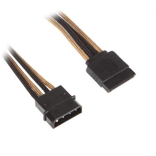 BitFenix Molex (4-pin) - SATA, 0.45m - voedingskabels (0.45m, Molex (4-pin), SATA, Mannelijk/Vrouwelijk, Zwart, Goud)