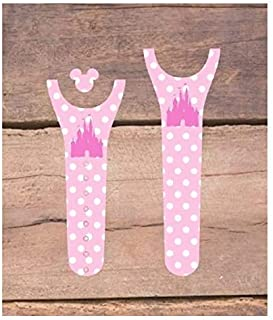 Vinyl Skin Decal Wrap Sticker Cover for the MagicBand 2 Magic Band 2 Pink Polka Dot Castle