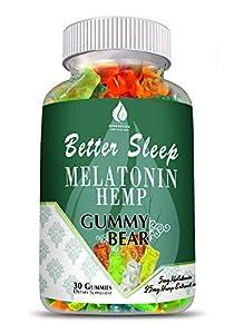 Melatonin Hemp Gummies - Sleep, Anxiety and Stress Relief. 5mg Melatonin + 25mg of 100% Pure All Natural Hemp Extract in Every Gummy. #1 Natural Sleep Aid to Promote restful Sleep -30 Servings
