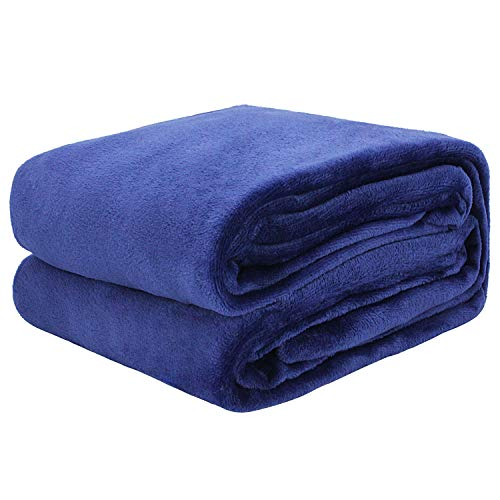 "Auchen Flannel Fleece Blanket Throw Deep Blue Home Blanket,Fluffy Blanket Warm Bed Throws for Sofa and Pet,Exquisite Comfortable Deep Blue Flannel Fleece Blanket 150(60"") x200(80"") cm"