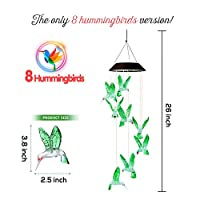 Dekopia Solar Wind Chimes 8 Hummingbird Outdoor Decor Color Changing Light Sensor Solar Power eco Friendly Easy to use… 18