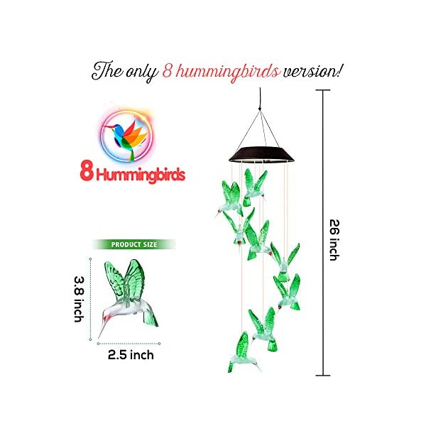 Dekopia Solar Wind Chimes 8 Hummingbird Outdoor Decor Color Changing Light Sensor Solar Power eco Friendly Easy to use… 1