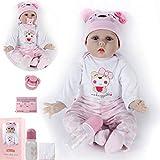 ZIYIUI Realista 22 Pulgadas 55 cm Reborn Baby Doll recién Nacido Suave Silicona Vinilo Realista Reborn Baby Girl muñeca Hecha a Mano