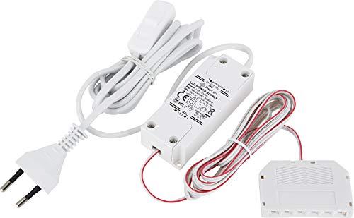 Bloc d'alimentation 12 V Mini AMP - Transformateur LED 7 W - Avec fiche Euro + interrupteur marche/arrêt + répartiteur 6 prises (mini-AMP) - 2 câbles de 2 m - Blanc