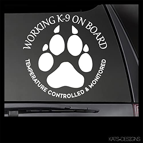 Working K-9 On Board-Temperature Controlled and Monitored Decal Dog Car Decal Dog Decal
