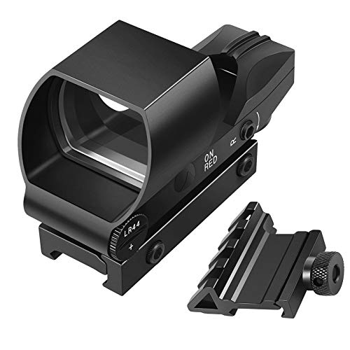 EZshoot Reflex Sight 4 Reticles Green and Red Dot Sight, Pistol Scope with 45 Degree Rail Mount, Upgraded On/Off Switch